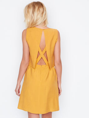 Open back dress curry.