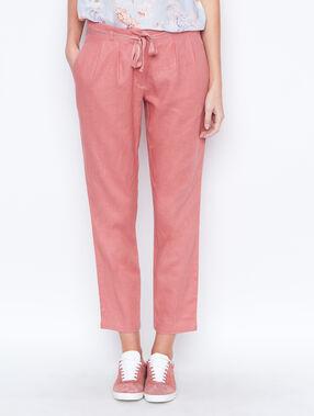 Linen carrot pants pink.