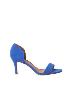 Escarpins ouverts en suédine bleu royal.