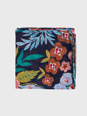 Foulard imprimé tropical bleu.