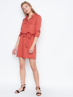 Belted dress red.