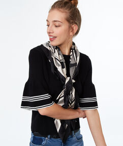 Light printed scarf black.