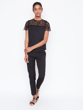 Lace short sleeves top black.
