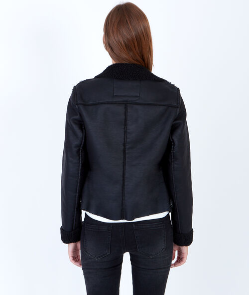 Biker jacket with wool lining