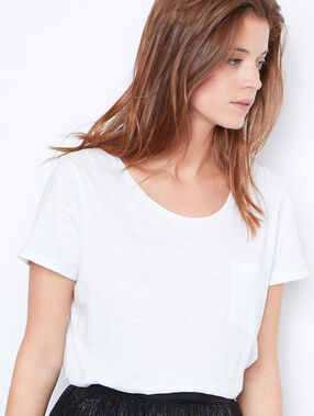 Round collar cotton t-shirt white.