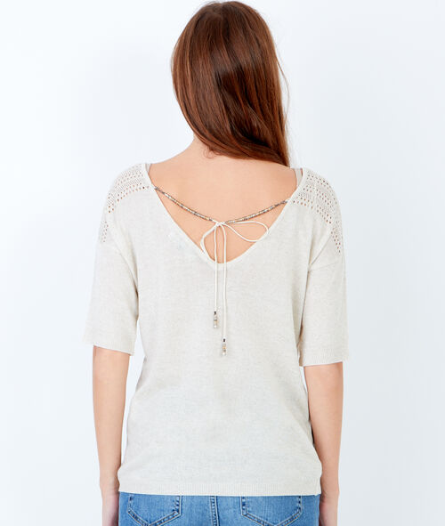 Short sleeve top with back detail