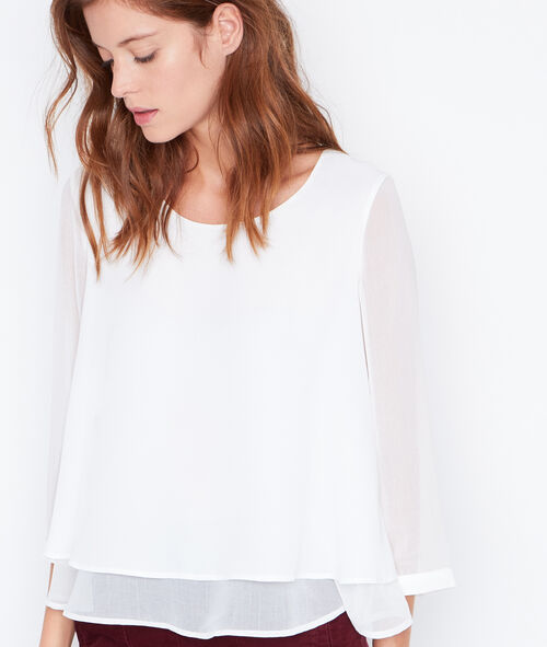 Sheer sleeve ruffle blouse