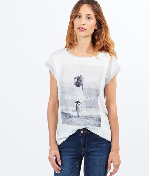 T-shirt bi-matière imprimé fille plage