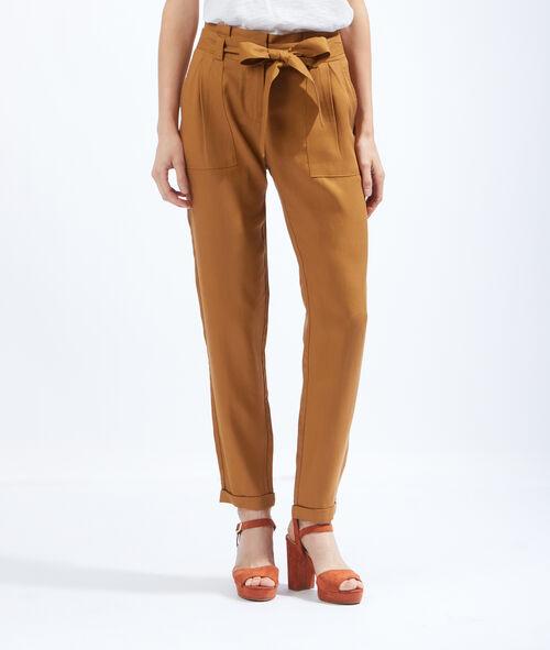 Pantalon en tencel, ceinturé taille