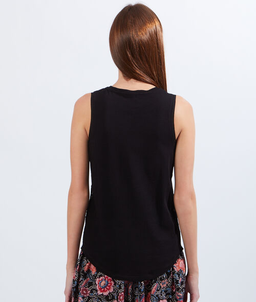 Tank top with ethnic lace insert