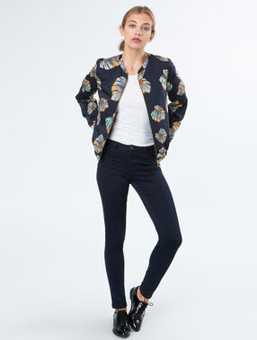 Printed bomber jacket navy.