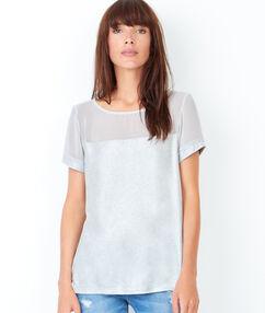 T-shirt manches courtes effet irisé blanc.