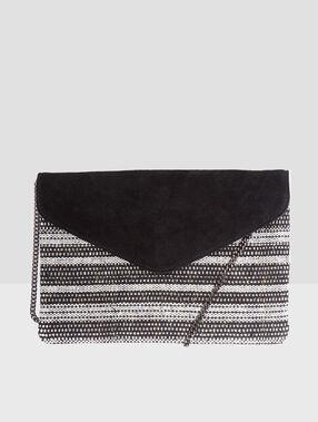 Pochette bi-matière, détail chainette noir.