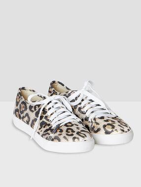 Baskets imprimées leopard ecru.