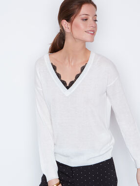 Lace long sleeves sweater white.