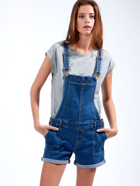 Salopette en jean medium denim.