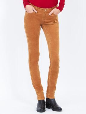 Corduroy slim pants camel.