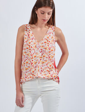 Printed top, plain back coral.