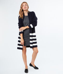 Stripped cardigan navy.