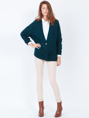 Knitted v-neck cardigan peacock green.