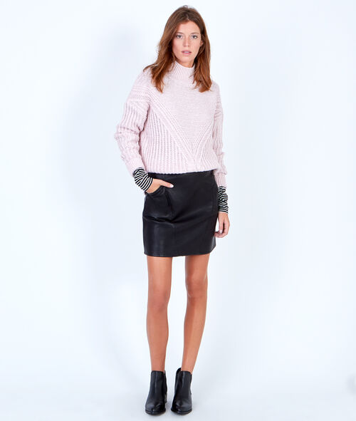 Chunky knitted jumper with slash neck