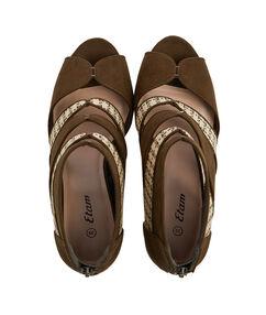 Sandales effet daim et raphia kaki.