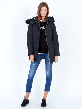 Padded jacket with faux fur hood black.