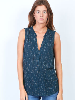 Floral print sleeveless top midnight blue.