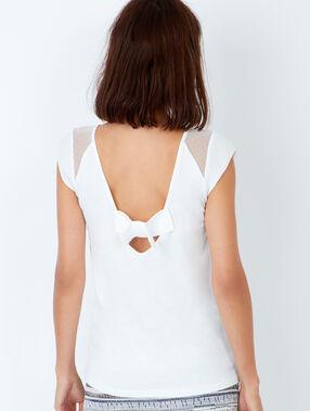 T-shirt échancré dans le dos avec détail en dentelle blanc.