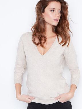 V-neck cashmere cotton sweater light beige.