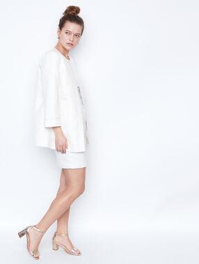 Veste longue jacquard blanc.