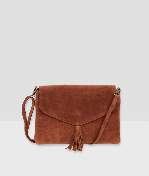 Leather clutch with pompom