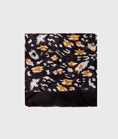 Silk printed scarf black.