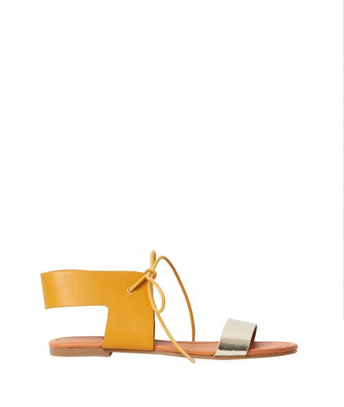 Sandales plates bicolores en suédine