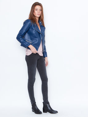 Faux leather biker jacket blue.
