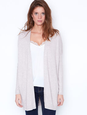 Shawl collar long cardigan beige.