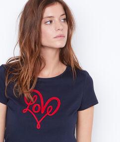 T-shirt inscription bleu.