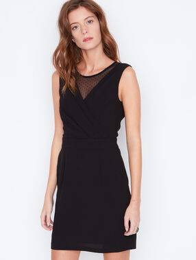 Wrap dress with lace inserts black.