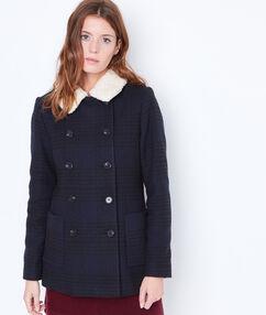 Manteau 3/4 à col effet mouton encre.