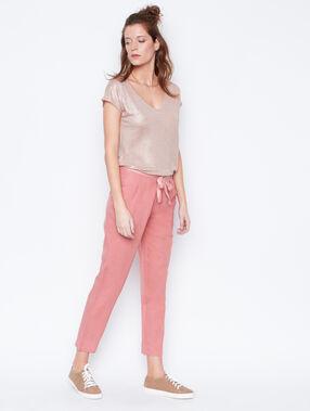 Linen t-shirt pink.