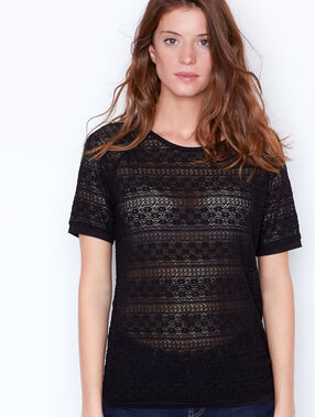 Short sleeve lace top black.