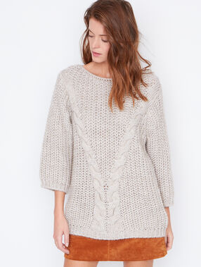 Cable knit large sweater beige.