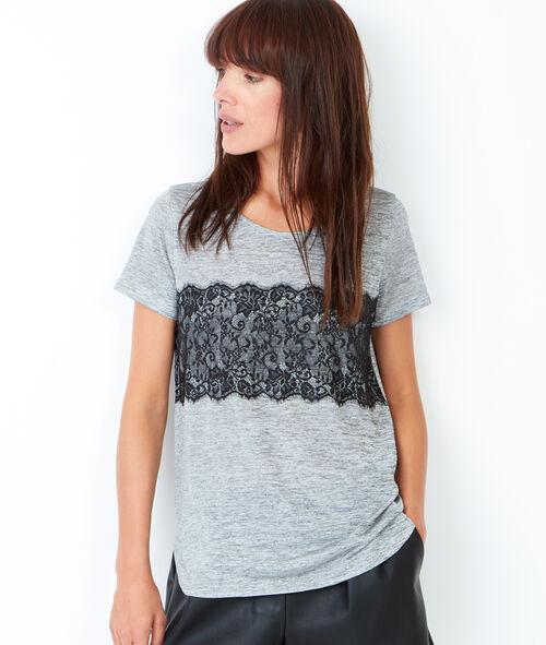 Lace insert short sleeve t-shirt