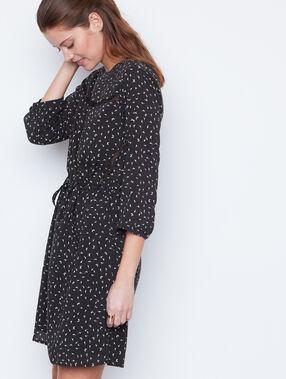 Robe imprimée avec détails dentelle noir.