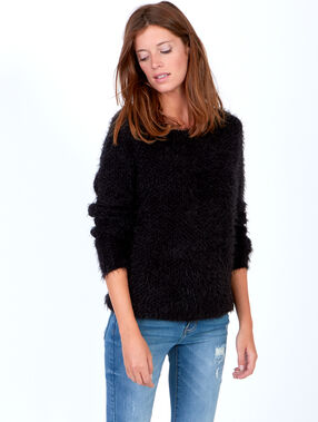 Fluffy knit jumper with round collar black.