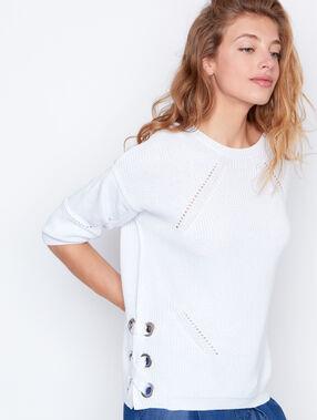 Round collar sweater white.
