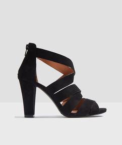 Sandales à talons croisées noir.