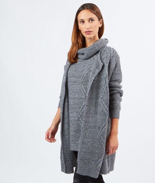 Gilet tricot lurex long