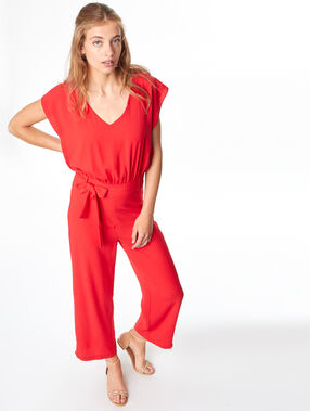 Belted jumpsuit red.