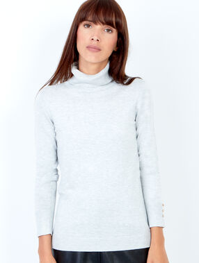 Knitted turtleneck sweater light heather grey.